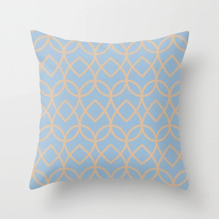 Pastel Blue and Peach Geometric Pattern Teardrop Throw Pillows inspired by and pairs to (matches / coordinates with) Dutch Boy 2021 Color of the Year Earth's Harmony and Sunwashed Orange