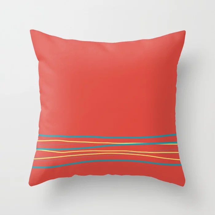 Red Aqua Gray Yellow Scribble Line Design Bottom 2021 Color of the Year AI Aqua and Accent Shades Throw Pillow