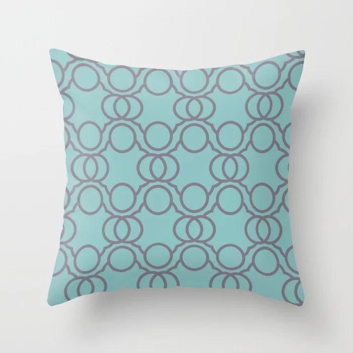 Aquamarine and Purple Geometric Circle Pattern V2 2021 Color of the Year Aqua Fiesta and Magic Dust Throw Pillow
