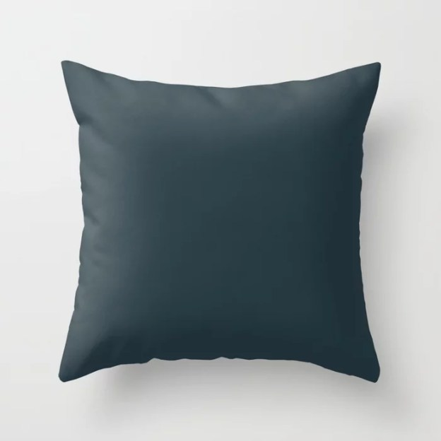 Sherwin Williams Trending Colors of 2019 Dark Night Dark Aqua Blue SW 6237 Throw Pillows and Outdoor Patio Pillows