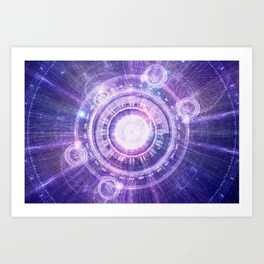 Blue Fractal Alchemy HUD for Bending Hyperspace Art Print