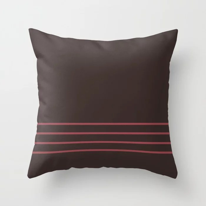 Red and Brown Minimal Thin Line Pattern 2021 Color of the Year Passionate and Dark Bronzetone Throw Pillow