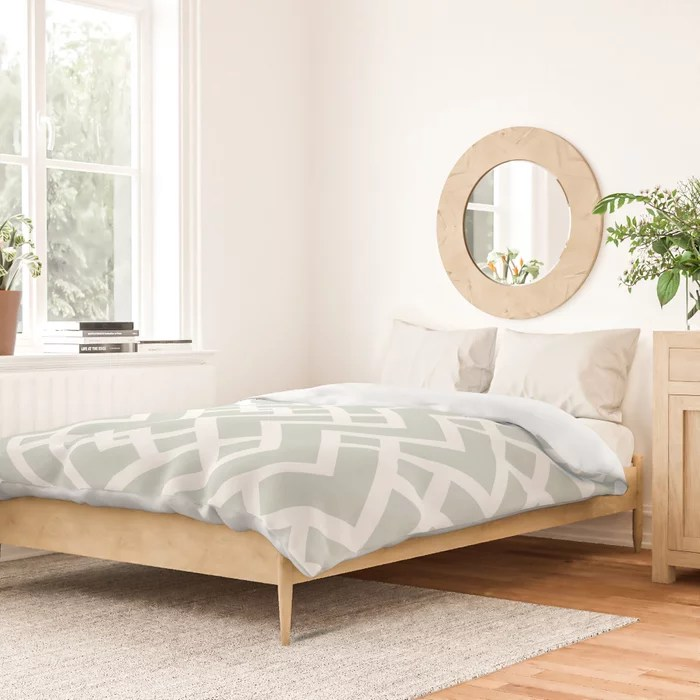 Mint Green and White Tessellation Pattern 25 Behr 2022 Color of the Year Breezeway MQ3-21 Duvet Cover. Color forecast 2022