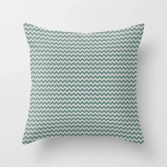 Muted Aqua and Beige Chevron Stripe Pattern 2021 Color of the Year Aegean Teal and Sweet Spring Throw Pillow