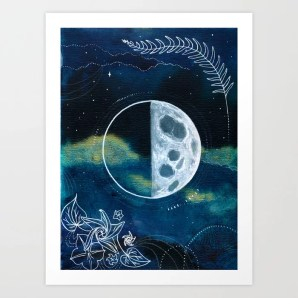Quarter Moon Original Mixed Media Painting Art Print by rachaelrice |  Society6