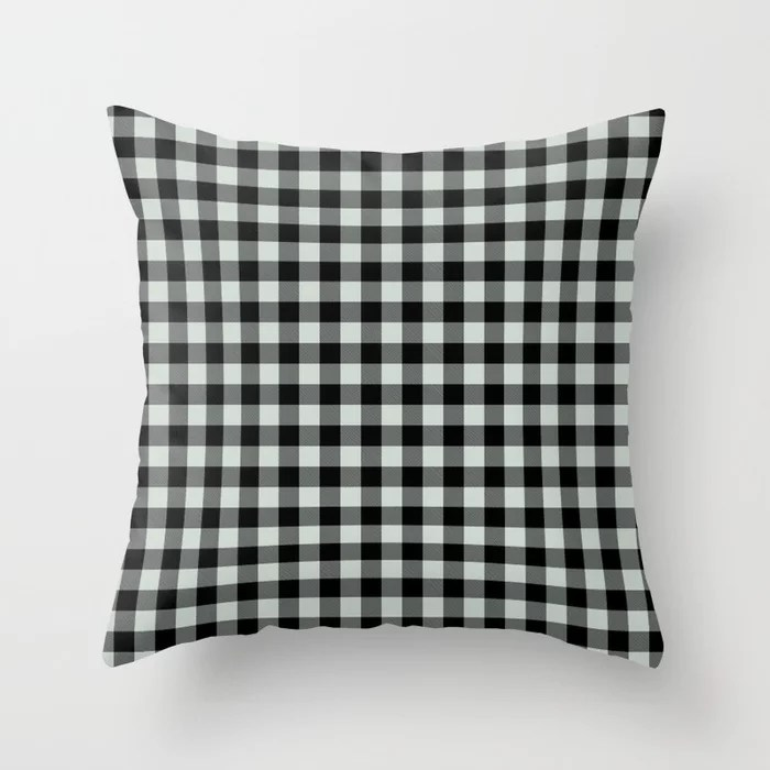 Pastel Green and Black Plaid Checkerboard Pattern Pairs Behr 2022 Color of the Year Breezeway MQ3-21 Throw Pillow. 2022 color scheme, trending interior design hue.