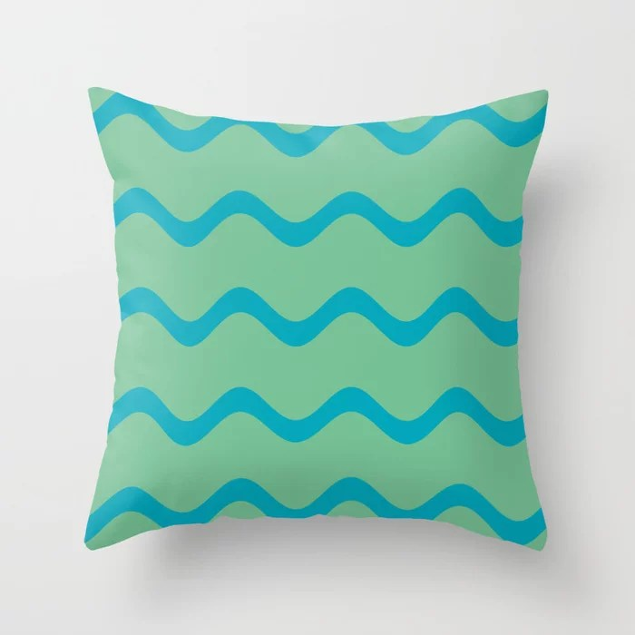 Teal and Green Wavy Horizontal Stripe Pattern 2021 Color of the Year AI Aqua and Quiet Wave Throw Pillow