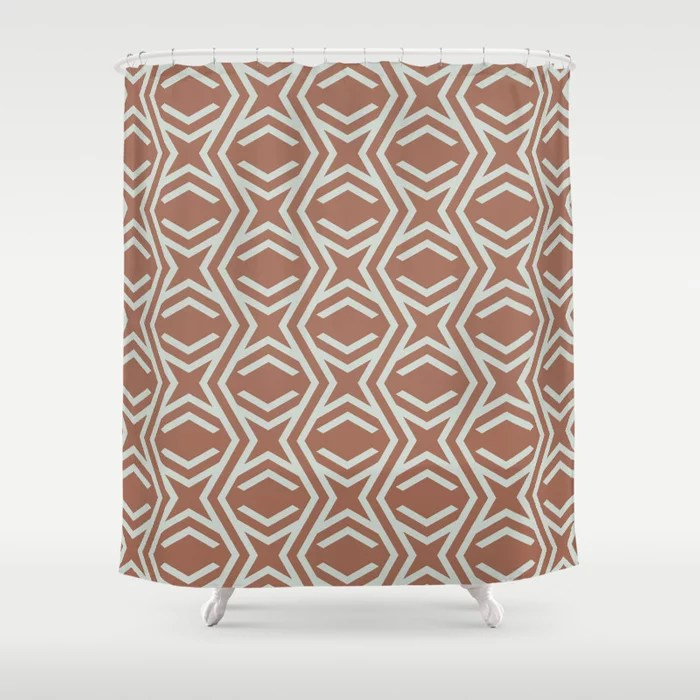 Pastel Green and Clay Stripe and Star Pattern Behr 2022 Color of the Year Breezeway MQ3-21 Shower Curtain. 2022 color trend
