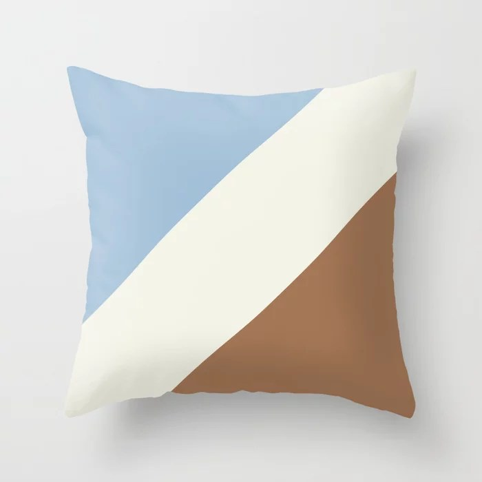 Pastel Blue Off White Brown Stripe Pattern Throw Pillows inspired by and pairs to (matches / coordinates with) Dutch Boy 2021 Color of the Year Earth's Harmony & Accent Hues