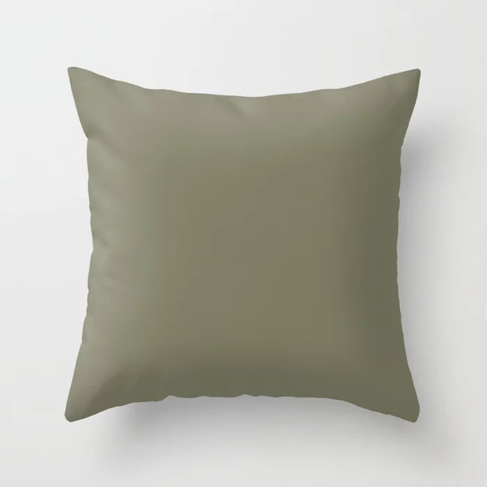Earthy Green Trending Solid Color: Hue inspired by and matches (pairs / coordinates with) Jolie 2021 Color of the Year Accent Hue Sage Throw Pillow