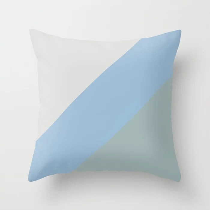 Pastel Blue Grey Aqua Diagonal Stripe Pattern Throw Pillows inspired by and pairs to (matches / coordinates with) Dutch Boy 2021 Color of the Year Earth's Harmony & Accent Hues