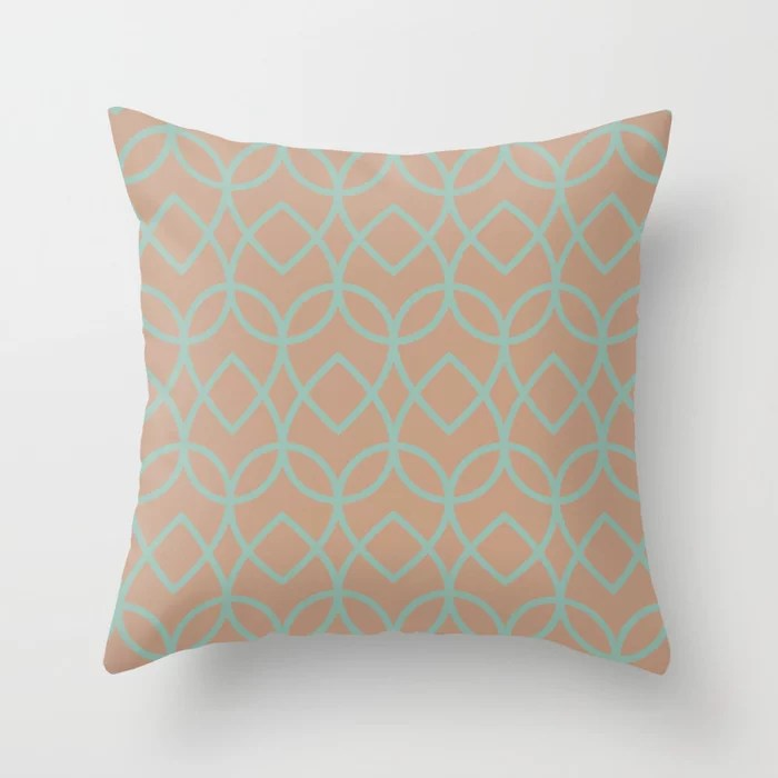 Sand Beige Pastel Mint Green Teardrop Pattern 2021 Color of the Year Canyon Dusk Spring Stream Throw Pillow