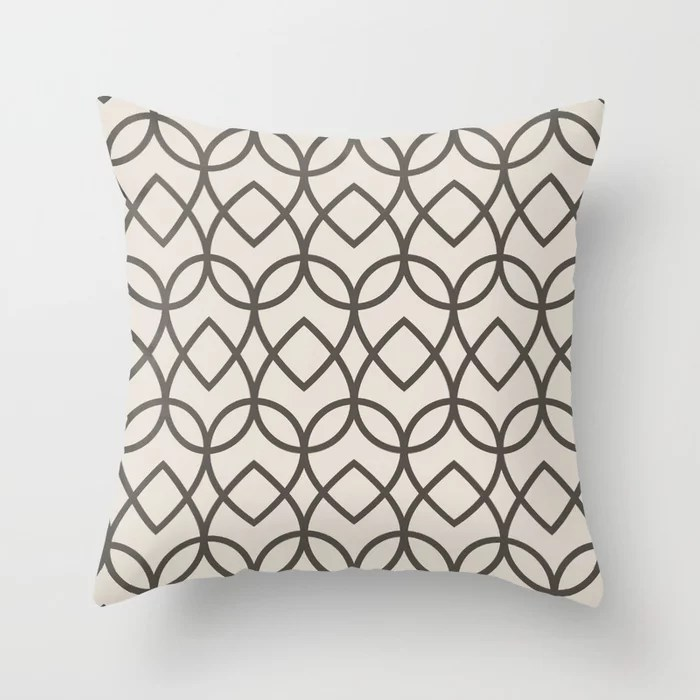 Brown & Cream Geometric Line Pattern Teardrop Throw Pillows Match and coordinate with Sherwin Williams Paints 2021 Color of the Year Urbane Bronze and Shoji White