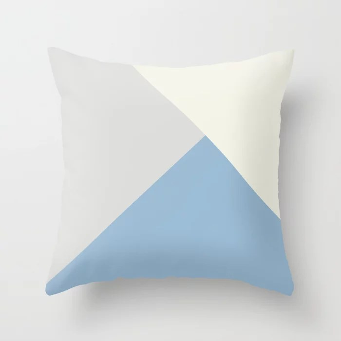 Pastel Blue Off White Pale Grey Solid Color Shapes Throw Pillows inspired by and pairs to (matches / coordinates with) Dutch Boy 2021 Color of the Year Earth's Harmony & Accents