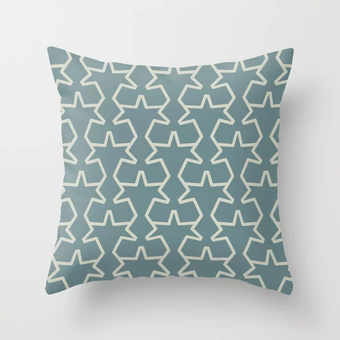 Aqua and Beige Geometric Tessellation Pattern 15V2 2021 Color of the Year Aegean Teal Sweet Spring Throw Pillow