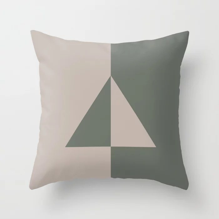 Moody Green Neutral Beige Minimal Triangle Design 2021 Color of the Year Contemplative and Stucco Throw Pillow