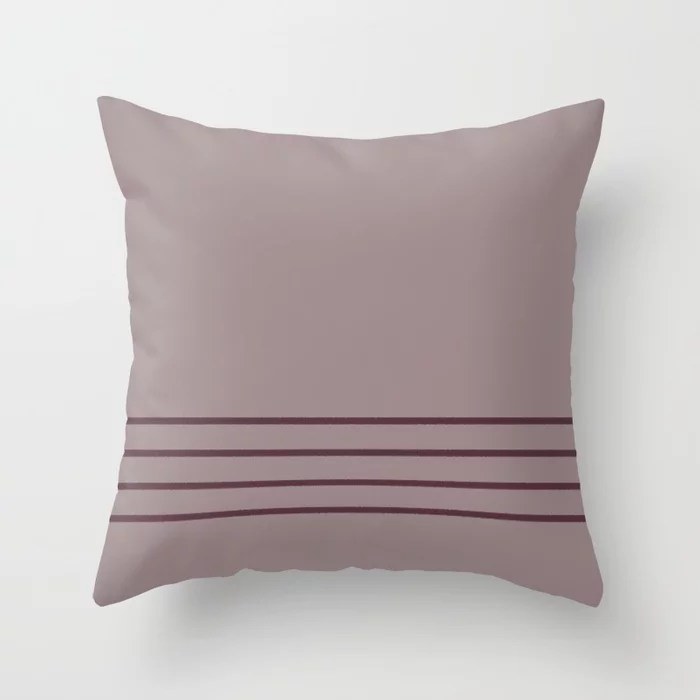 Deep Purple Pink-Purple Thin 4 Stripe Pattern 2021 Color of the Year Epoch Spiced Mulberry Throw Pillow