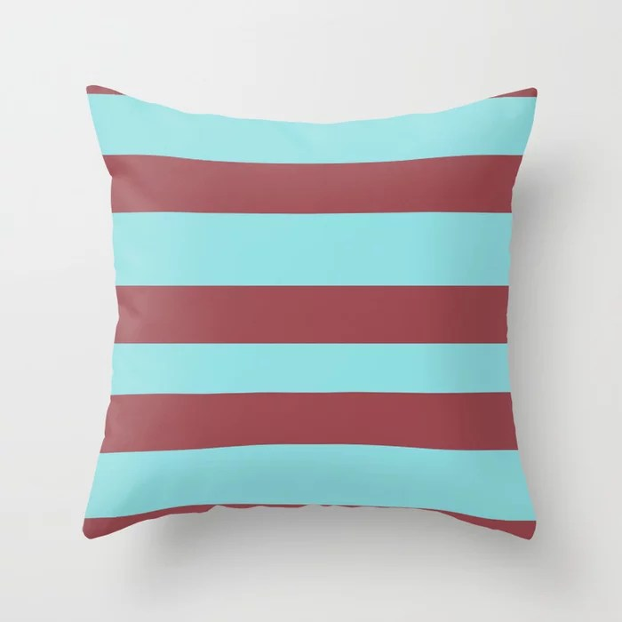 Red and Pastel Blue Wide Horizontal Stripe Pattern 2021 Color of the Year Passionate & Breezy Aqua Throw Pillow