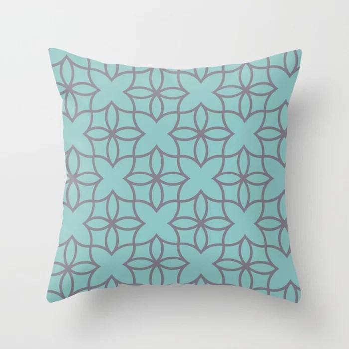 Pastel Aqua and Purple Minimal Line Art Pattern 4 2021 Color of the Year Aqua Fiesta and Magic Dust Throw Pillow