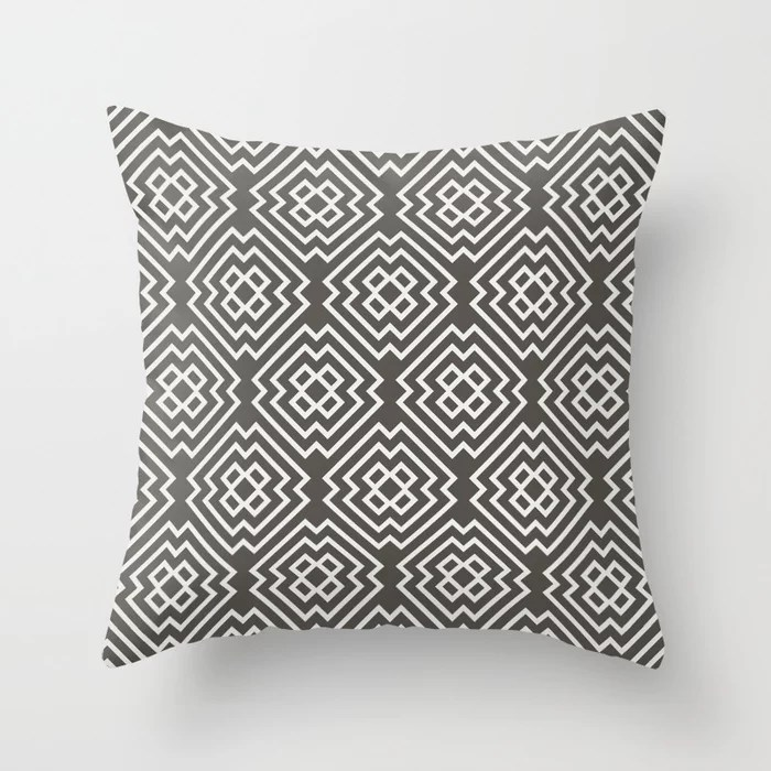 Dark Brown Off-White Ornamental Shape Pattern 6 2021 Color of the Year Urbane Bronze & Extra White Throw Pillow