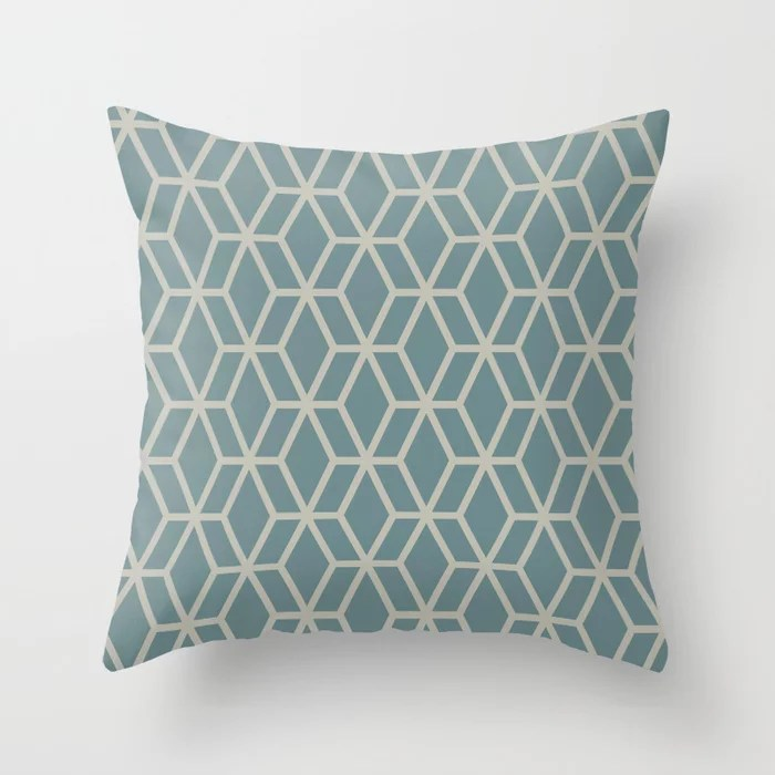Soft Aqua Blue Tan Tessellation Line Pattern 16 2021 Color of the Year Aegean Teal and Winterwood Throw Pillow