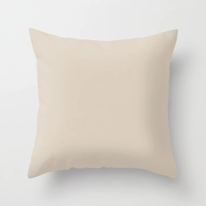Light Beige Solid Color: Hue inspired by and matches (pairs / coordinates with) Jolie 2021 Color of the Year Uptown Ecru Throw Pillow