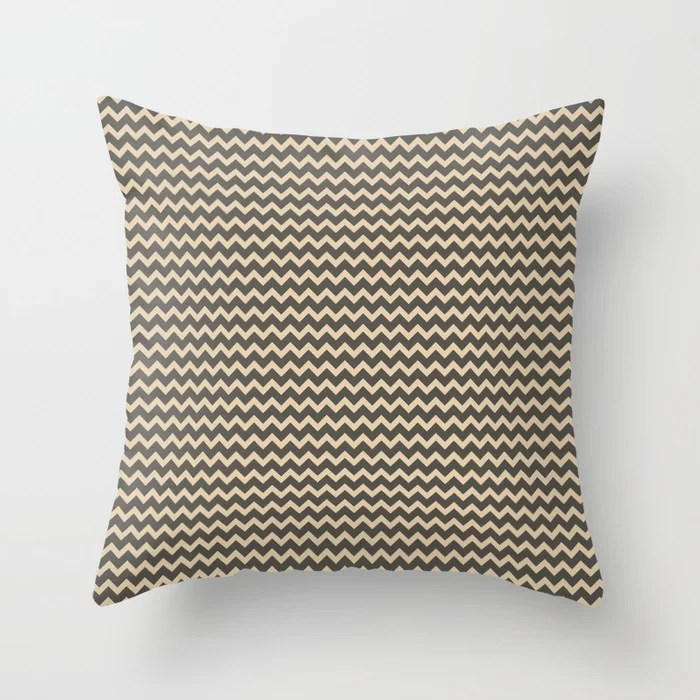 Brown and Tan Chevron Line Pattern Throw Pillows Match and coordinate with Sherwin Williams Paints 2021 Color of the Year Urbane Bronze and Ivoire