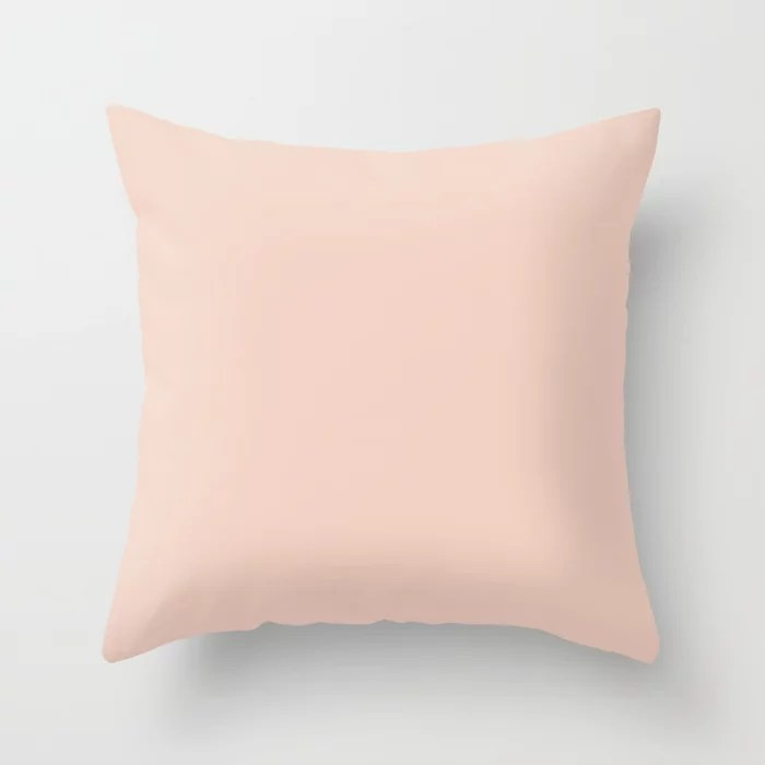 Faithful Pastel Pink Solid Color Accent Shade / Hue Matches Sherwin Williams Koral Kicks SW 6610 Throw Pillow