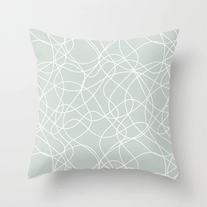 Mint Green and White Mosaic Pattern Behr 2022 Color of the Year Breezeway MQ3-21 Throw Pillow. 2022 color scheme, trending interior design hue.