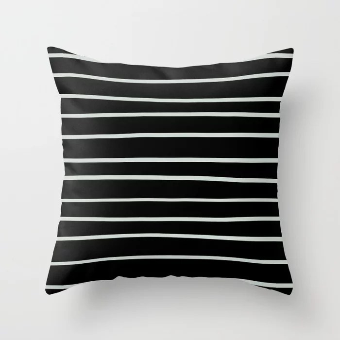 Pastel Green and Black Horizontal Line Pattern Pairs Behr 2022 Color of the Year Breezeway MQ3-21 Throw Pillow. 2022 color scheme, trending interior design hue.
