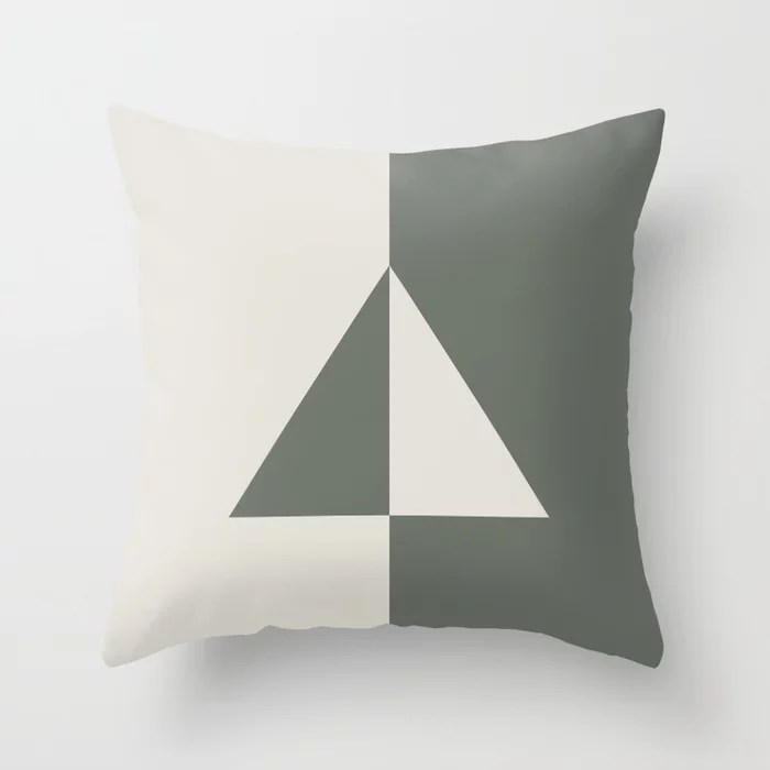 Moody Green Creamy White Minimal Triangle Design 2021 Color of the Year Contemplative and Whitewisp Throw Pillow