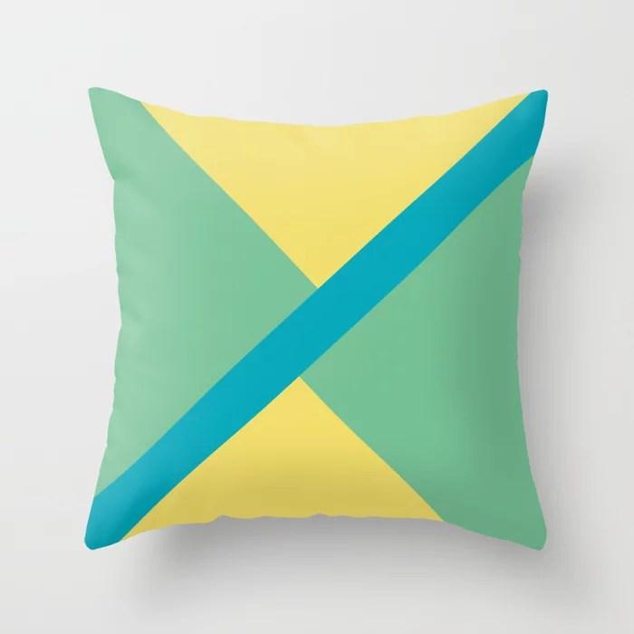 Blue-Green Yellow Green Diagonal Shape Pattern 2021 Color of the Year AI Aqua 098-59-30 Throw Pillow