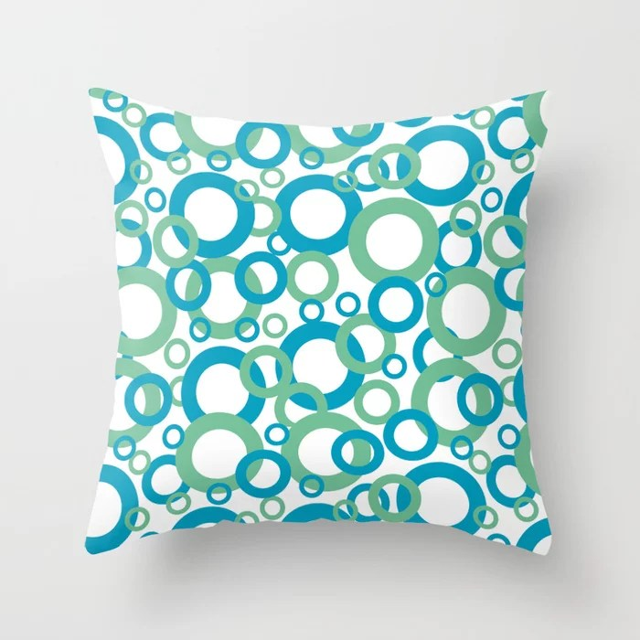Blue Green White Geometric Ring Pattern 2021 Color of the Year AI Aqua 098-59-30 Throw Pillow