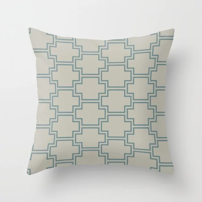 Blue-Green Tan Line Pattern 2 Ornamental Box 2021 Color of the Year Aegean Teal and Winterwood Throw Pillow