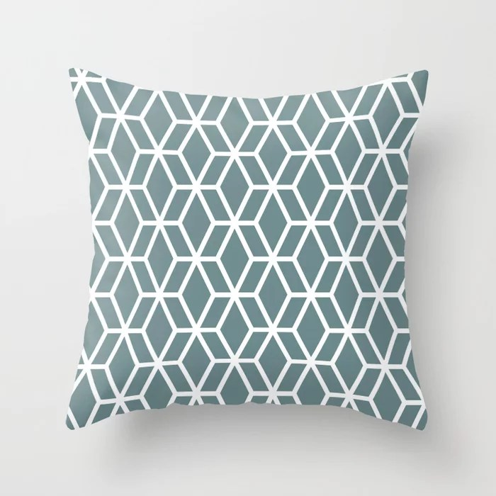 Soft Aqua Blue White Tessellation Line Pattern 16 2021 Color of the Year Aegean Teal Throw Pillow