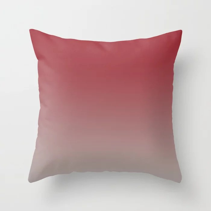 Red and Gray Gradient Ombre Blend 2021 Color of the Year Satin Paprika and Satin Driftwood Throw Pillow