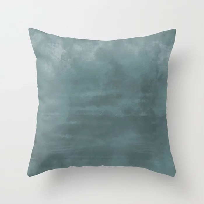Cool Tropical Blue-Green Abstract Watercolor Blend 2021 Color of the Year Aegean Teal 2136-40 Throw Pillow