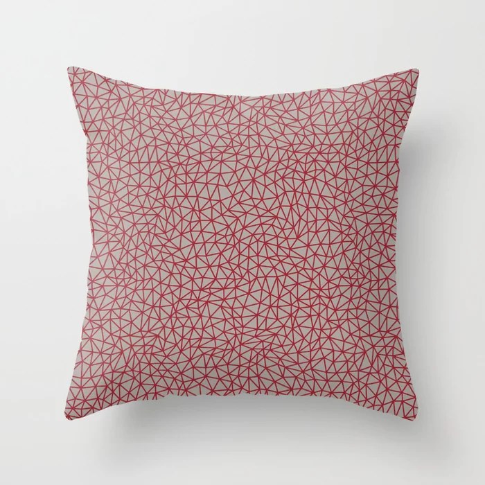 Red and Gray Triangle Shape Pattern 2021 Color of the Year Satin Paprika and Satin Driftwood Throw Pillow