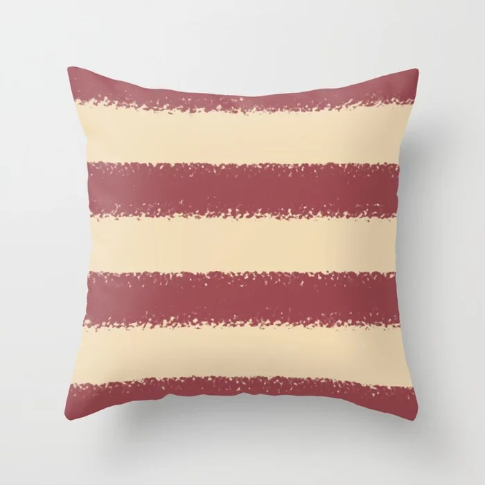 Red and Light Beige Minimal Stripe Pattern Pairs HGTV 2021 Color of the Year Passionate Throw Pillow