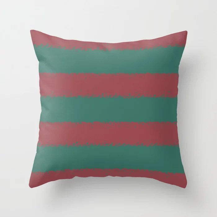 Red and Dark Green Minimal Stripe Pattern Pairs HGTV 2021 Color of the Year Passionate Throw Pillow