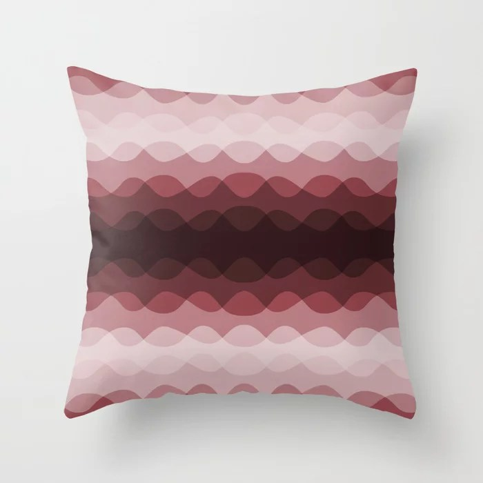 Red Overlapping Wavy Rippled Horizontal Stripe Pattern 2021 Color of the Year Passionate HGSW2032 Throw Pillow