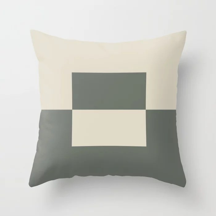 Green Buff Tan Minimal Square Design 2 2021 Color of the Year Contemplative Bleached Pebble Throw Pillow