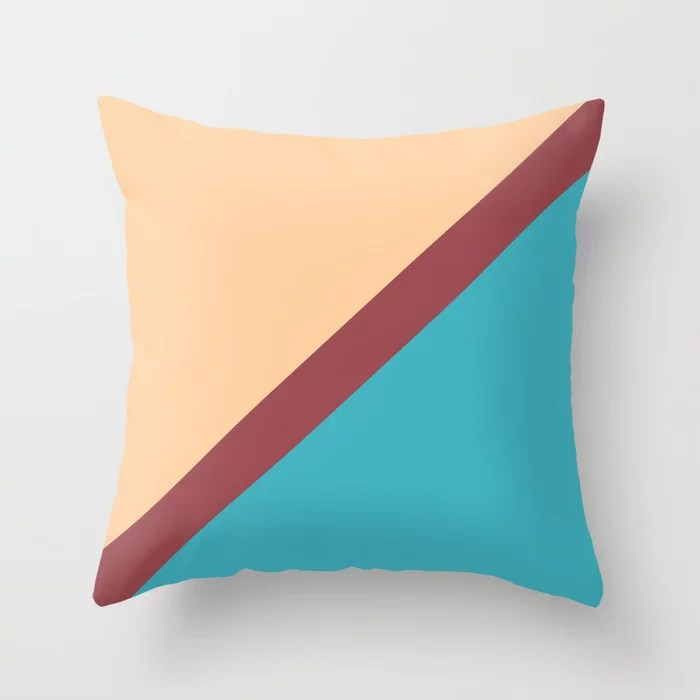 Red Peach Blue Minimal Thin Angled Line Pattern 2021 Color of the Year Passionate and Accent Shades Throw Pillow