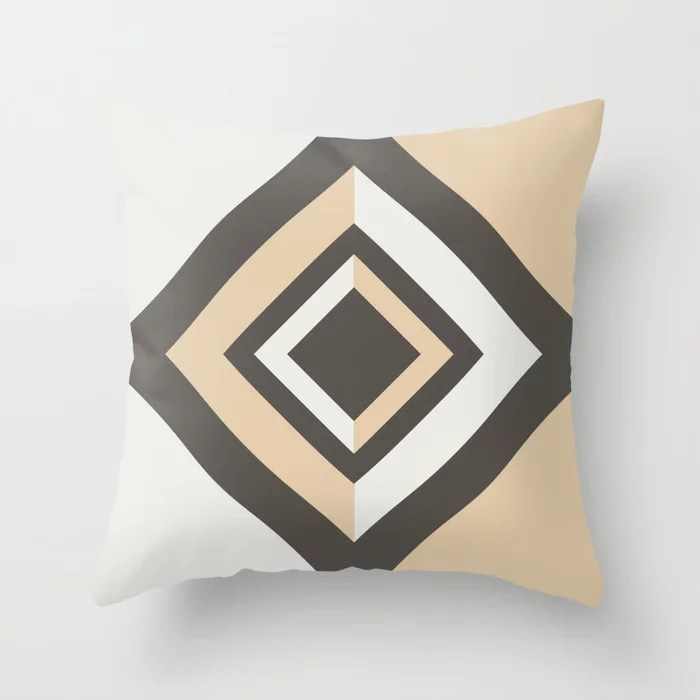 Brown Tan White Geometric Shape Diamond Throw Pillows Match and coordinate with Sherwin Williams Paints 2021 Color of the Year Urbane Bronze and Accent Shades