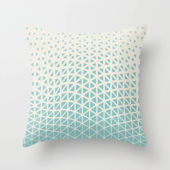 Pastel Teal and Cream Geometric Wave Pattern 2021 Color of the Year Aqua Fiesta and Horseradish Throw Pillow