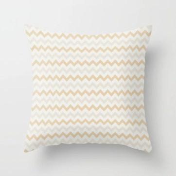 Cream White Tan Chevron Horizontal Stripe Pattern 2021 Color of the Year Urbane Bronze Accent Shades Throw Pillow