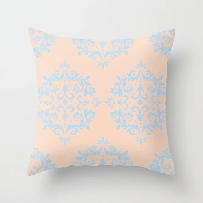 Baby Blue and Peach Damask Scroll Pattern 2021 Color of the Year Wild Blue Yonder Natural Tan Throw Pillow