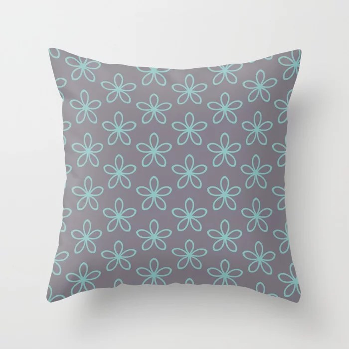 Pastel Aqua and Purple Minimal Flower Pattern 2021 Color of the Year Aqua Fiesta and Magic Dust Throw Pillow