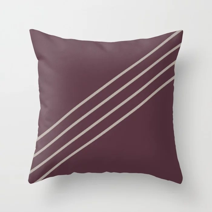 Deep Purple Taupe Gray Stripe Diagonal Pattern 2021 Color of the Year Epoch and Fondue Throw Pillow