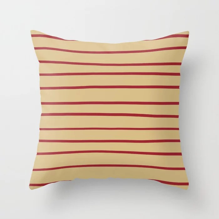 Red and Beige Thin Stripe Pattern 2021 Color of the Year Satin Paprika and Sunlit Brass Throw Pillow
